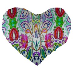 Wallpaper Created From Coloring Book Large 19  Premium Flano Heart Shape Cushions