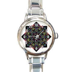 Mandala Abstract Geometric Art Round Italian Charm Watch