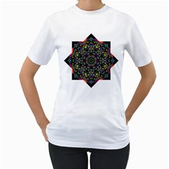 Mandala Abstract Geometric Art Women s T Shirt (white) (two Sided)