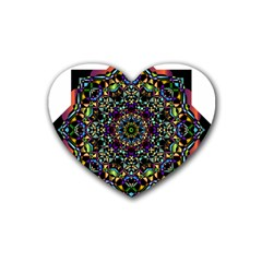 Mandala Abstract Geometric Art Rubber Coaster (heart)