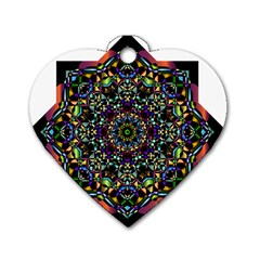 Mandala Abstract Geometric Art Dog Tag Heart (One Side)