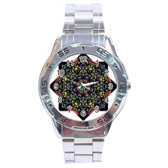 Mandala Abstract Geometric Art Stainless Steel Analogue Watch