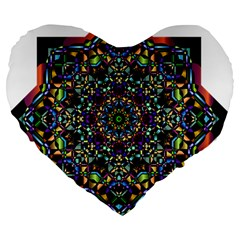 Mandala Abstract Geometric Art Large 19  Premium Heart Shape Cushions