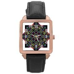 Mandala Abstract Geometric Art Rose Gold Leather Watch