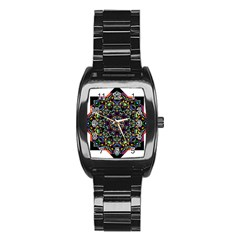 Mandala Abstract Geometric Art Stainless Steel Barrel Watch