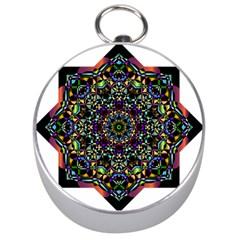 Mandala Abstract Geometric Art Silver Compasses