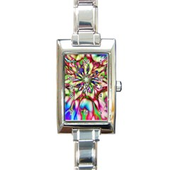 Magic Fractal Flower Multicolored Rectangle Italian Charm Watch