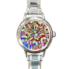Magic Fractal Flower Multicolored Round Italian Charm Watch