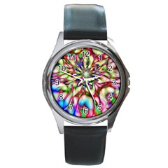 Magic Fractal Flower Multicolored Round Metal Watch