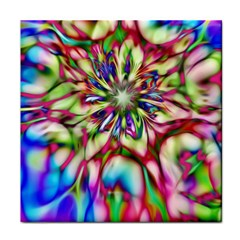 Magic Fractal Flower Multicolored Tile Coasters