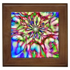 Magic Fractal Flower Multicolored Framed Tiles