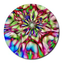 Magic Fractal Flower Multicolored Round Mousepads