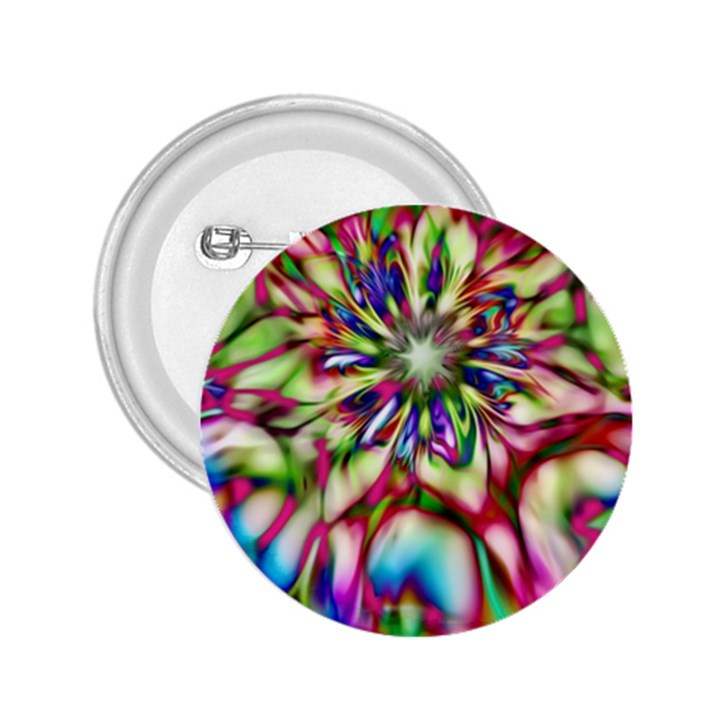 Magic Fractal Flower Multicolored 2.25  Buttons