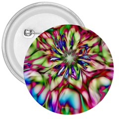 Magic Fractal Flower Multicolored 3  Buttons