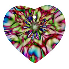 Magic Fractal Flower Multicolored Ornament (Heart)