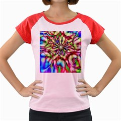 Magic Fractal Flower Multicolored Women s Cap Sleeve T-Shirt
