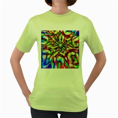Magic Fractal Flower Multicolored Women s Green T-Shirt