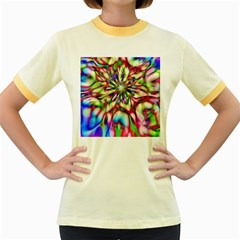 Magic Fractal Flower Multicolored Women s Fitted Ringer T-Shirts
