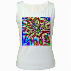 Magic Fractal Flower Multicolored Women s White Tank Top