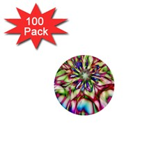 Magic Fractal Flower Multicolored 1  Mini Buttons (100 pack)