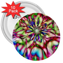 Magic Fractal Flower Multicolored 3  Buttons (10 pack)