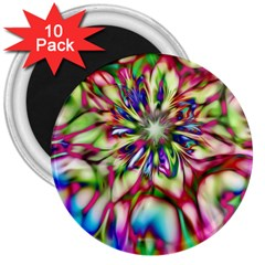 Magic Fractal Flower Multicolored 3  Magnets (10 pack)