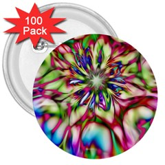 Magic Fractal Flower Multicolored 3  Buttons (100 pack)