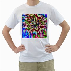 Magic Fractal Flower Multicolored Men s T-Shirt (White) (Two Sided)
