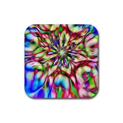 Magic Fractal Flower Multicolored Rubber Square Coaster (4 pack)