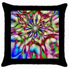 Magic Fractal Flower Multicolored Throw Pillow Case (Black)