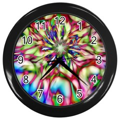 Magic Fractal Flower Multicolored Wall Clocks (Black)