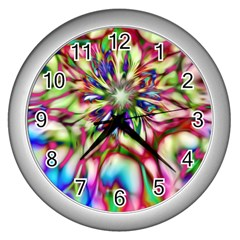 Magic Fractal Flower Multicolored Wall Clocks (Silver)