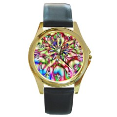 Magic Fractal Flower Multicolored Round Gold Metal Watch