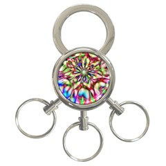 Magic Fractal Flower Multicolored 3-Ring Key Chains