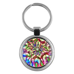 Magic Fractal Flower Multicolored Key Chains (Round)