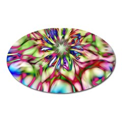 Magic Fractal Flower Multicolored Oval Magnet