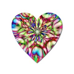 Magic Fractal Flower Multicolored Heart Magnet