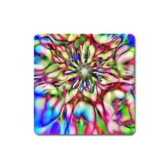 Magic Fractal Flower Multicolored Square Magnet