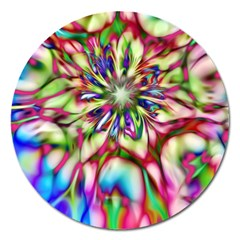 Magic Fractal Flower Multicolored Magnet 5  (Round)