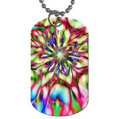 Magic Fractal Flower Multicolored Dog Tag (One Side)