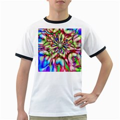 Magic Fractal Flower Multicolored Ringer T-Shirts