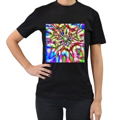 Magic Fractal Flower Multicolored Women s T-Shirt (Black) (Two Sided)