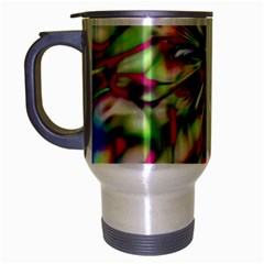 Magic Fractal Flower Multicolored Travel Mug (Silver Gray)
