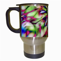 Magic Fractal Flower Multicolored Travel Mugs (White)