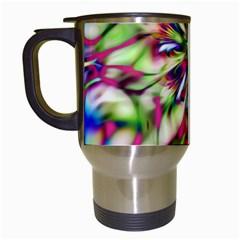 Magic Fractal Flower Multicolored Travel Mugs (White)