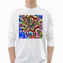 Magic Fractal Flower Multicolored White Long Sleeve T-Shirts