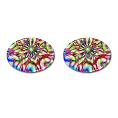 Magic Fractal Flower Multicolored Cufflinks (Oval)