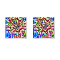 Magic Fractal Flower Multicolored Cufflinks (Square)
