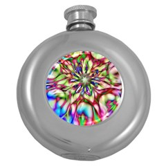 Magic Fractal Flower Multicolored Round Hip Flask (5 oz)