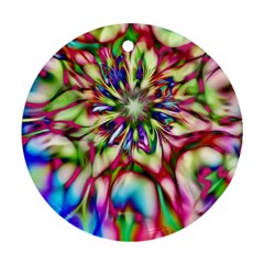Magic Fractal Flower Multicolored Round Ornament (Two Sides)